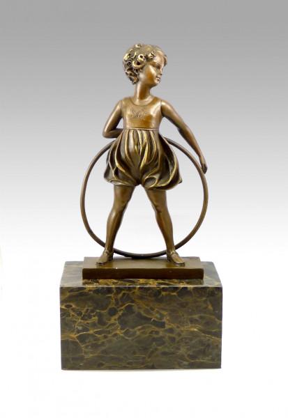 Bronzefigur Hula-Hoop Mädchen signiert Ferdinand Preiss