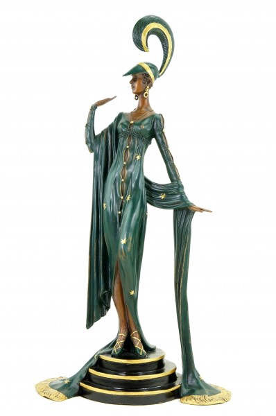 Art Deco Revue Tänzerin - signiert F. Preiss - Bronzestatue