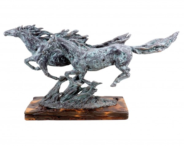 Moderne Kunst - Wild Horses - Galoppierende Pferde - signiert Milo
