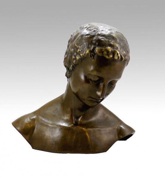 Moderne Bronze, Geneigter Frauenkopf, sign. Wilhelm Lehmbruck