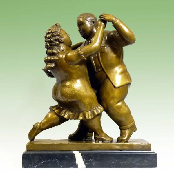 Moderne Bronzefigur - Paar beim Tanz - nach Fernando Botero