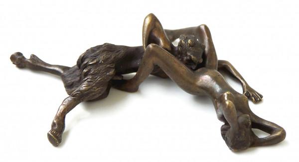 Erotik Wiener Bronze - Faunpärchen beim Liebesspiel - 2 teilig
