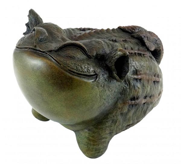 Lustige chinesische Bronze Kröte - signiert von Milo