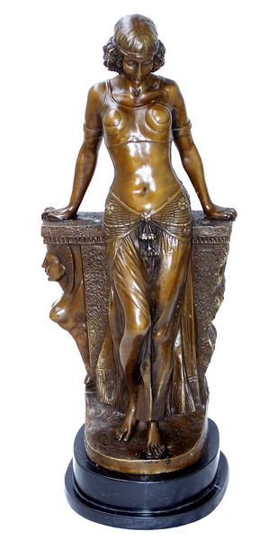 Art Deco Bronzefigur - Ägypterin Großfigur - auf Marmor sign.