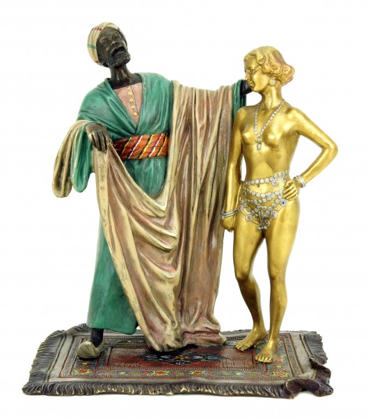 Wiener Bronze Figur - Sklavenhändler mit nackter Sklavin - Bergmann