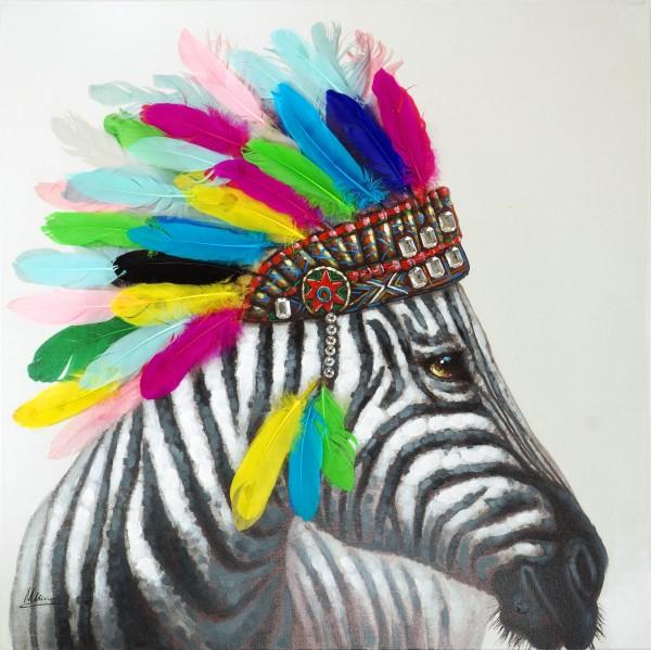 Zebra Häuptling – Tierbild – Martin Klein – Zebra Gemälde - Acryl