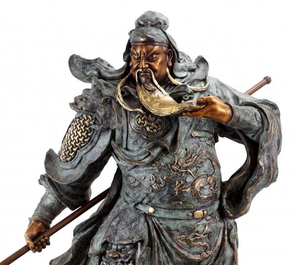 General Guan Yu - Opulente Bronzestaue - Samurai Skulptur - sign. Milo