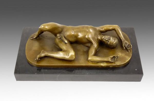 Erotische Bronze- Aktbronze- Liegender Jüngling- sign. M. Nick