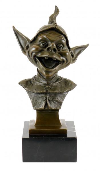 Bronzekopf eines Kobold / Goblin / Gnom - signiert Juno