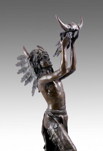 Bronzeskulptur - Indianer - Häuptling - Krieger von Carl Kauba