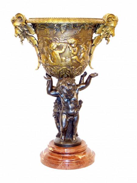 Art Deco Bronze - Puttenvase mit Engel auf Marmorsockel