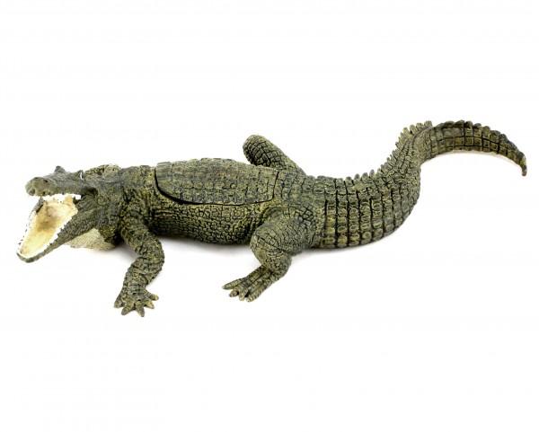 Wiener Bronze - Krokodil mit Jungfer - 3-teilig - Bergmann-Stempel