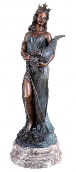 Bronze Glücksgöttin Fortuna mit Füllhorn - signiert Césaro