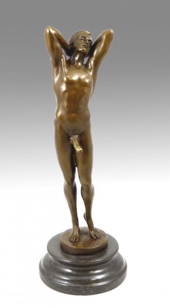 Erotik Bronze- Stehender Mann mit steifen Phallus- sign. M. Nick