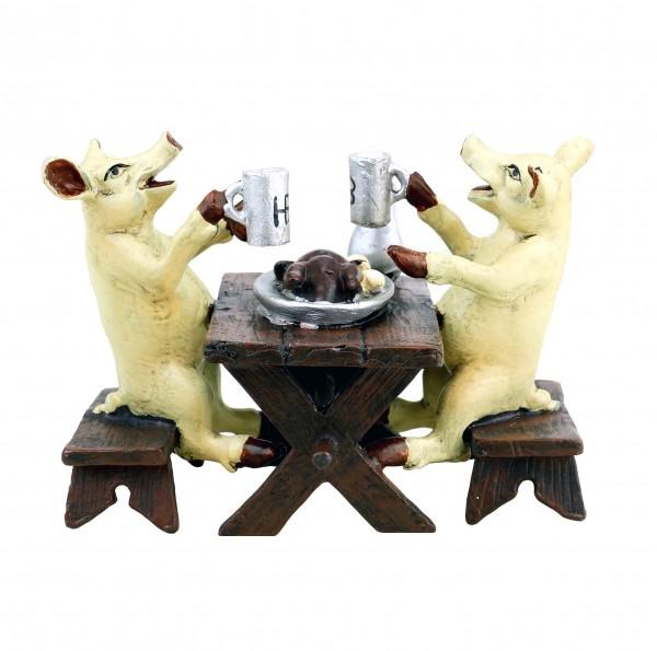 Hofbräu Schweine beim Gänsebraten - Wiener Bronze - lustige Tierfigur