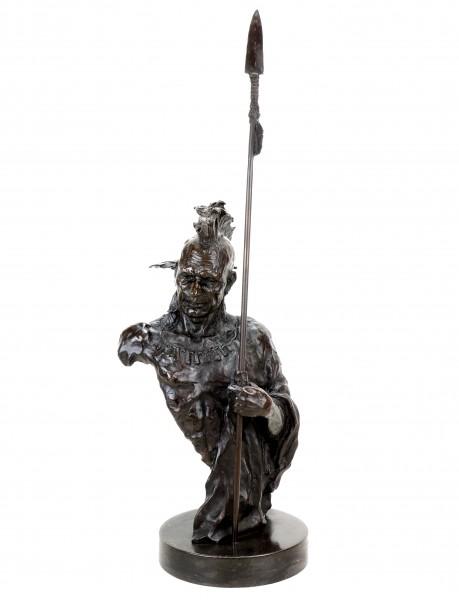 Limitierte Indianer Skulptur - Irokese - Indianer Bronze Krieger