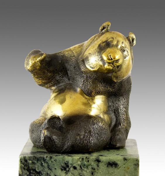 Kunstvolle Bronzefigur - Tierskulptur - Der Pandabär - von Milo
