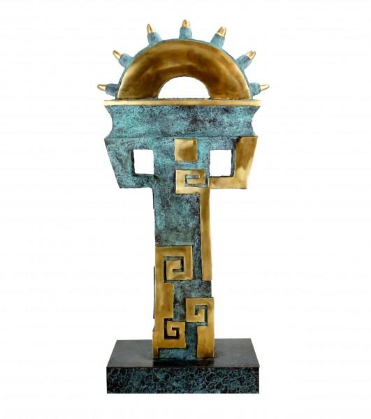 Limitierte Bronzeskulptur - Aztekische Säule - signiert Martin Klein
