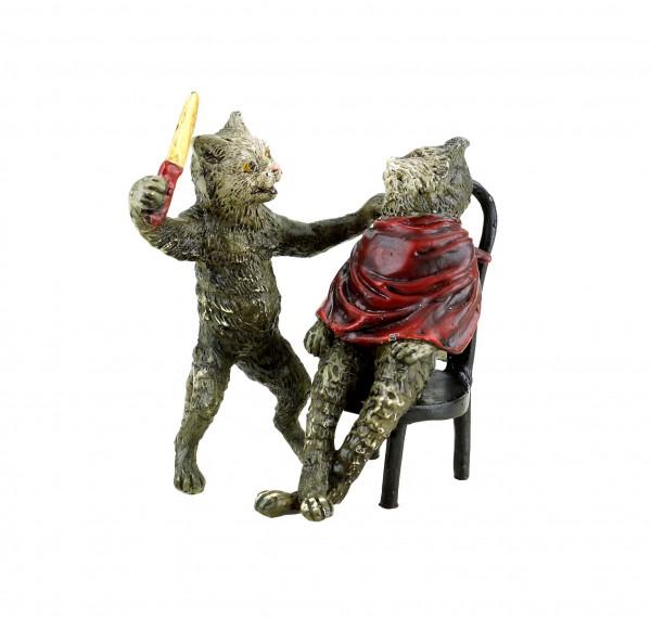 Wiener Bronze - Katze beim Friseur - gestempelt - handbemalte Figur