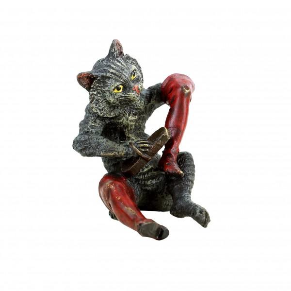 Wiener Bronze Katze - Gestiefelter Kater - handbemalte Miniaturbronze