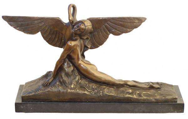 Art Deco Bronze Leda und Schwan signiert A. Gennarelli