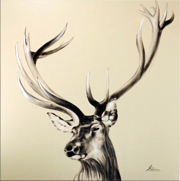 Stolzer Hirsch II – Jagd Gemälde – Martin Klein - Exklusives Wandbild