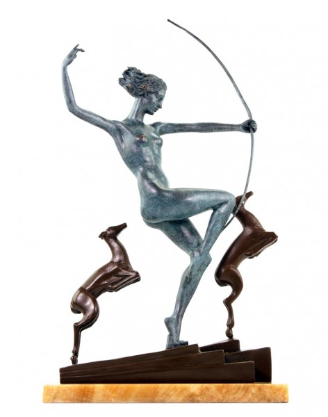 Art Deco Bronze - Diana with fawns - signiert A. Bouraine