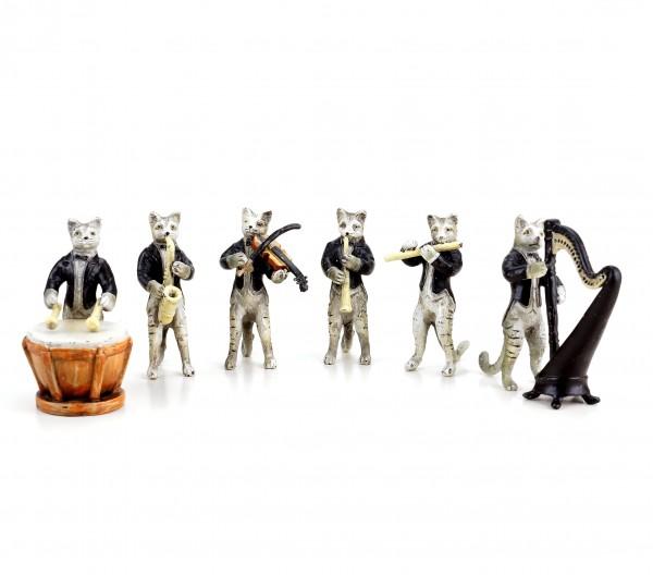 Katzenkapelle - Wiener Bronze - sechsteilig - Katzenfiguren-Gruppe