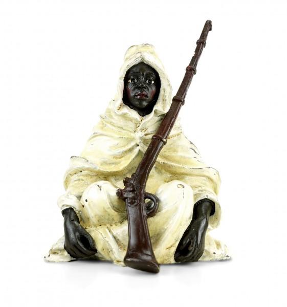 Araberkrieger mit Gewehr - Wiener Bronze - Beduine - gestempelt