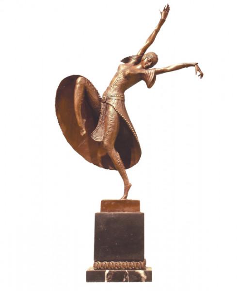 Art Deco Bronze Tänzerin von D.H. Chiparus auf Marmorsockel