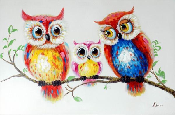 Eulenfamilie – Eulengemälde – Martin Klein – Vogelbild