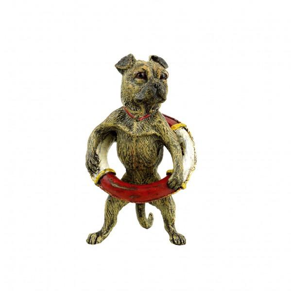 Mops mit Rettungsring - Wiener Bronze - gestempelt - Hundefigur