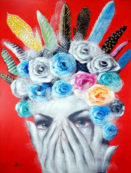 Flowers and Feathers – Portrait Gemälde – Martin Klein – Modern Art