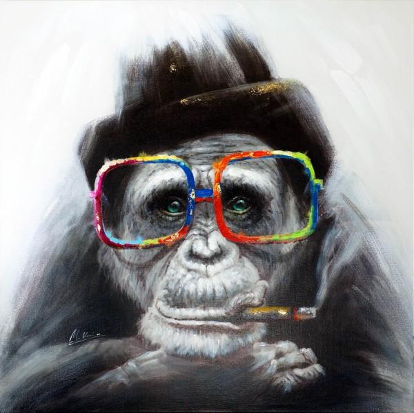 Smoking Monkey – Witziges Tierbild – Martin Klein – handgemalt