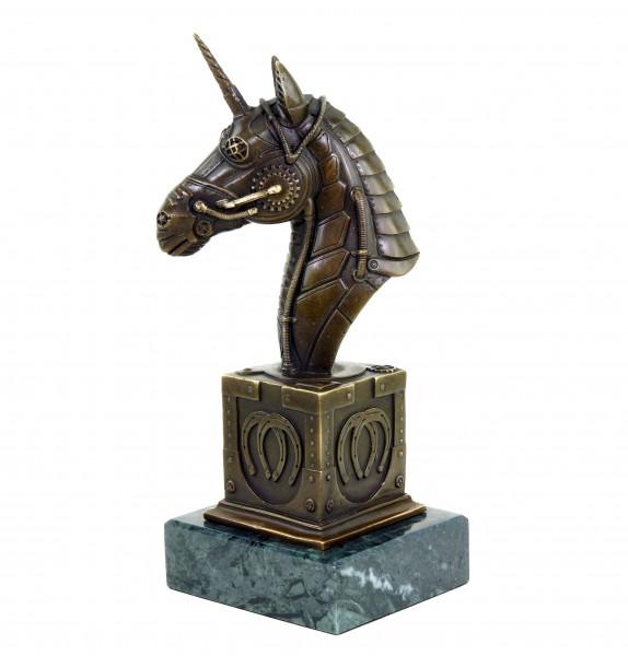 Steampunk Figur - Einhorn Büste - Limitierte Bronze von Martin Klein