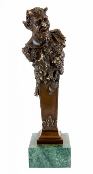 Wiener Bronze Skulptur - Faun Büste - Bergmann Stempel