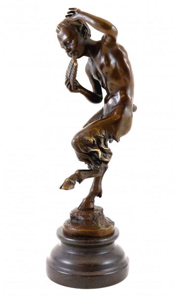 Bronzefigur, Tanzender Satyr mit Panflöte, Jules Jacques Labatut
