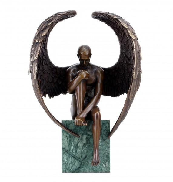 Engel Akt Figur - Moderner Männerakt aus Bronze - Erotischer Engel