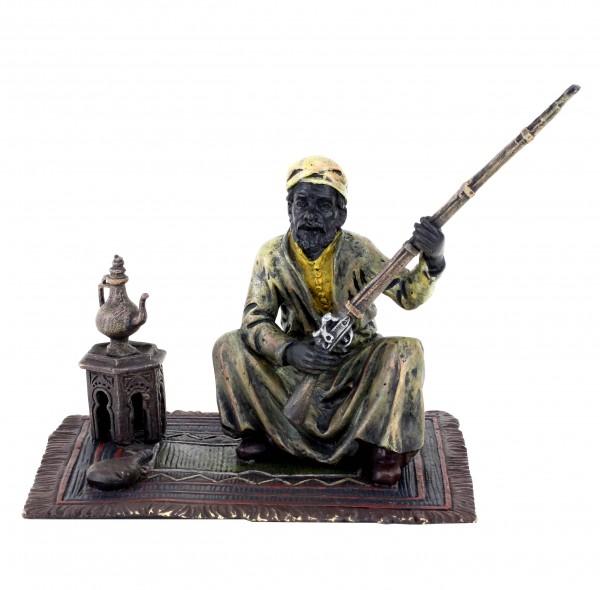 Wiener Bronze Araber Figur - Araberkrieger auf Teppich - Bergmann