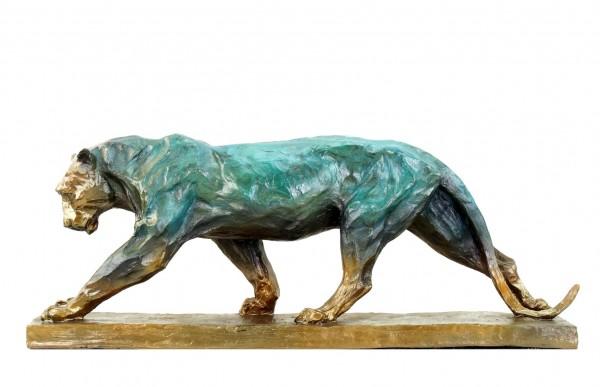 Panther im Laufen - signiert Bugatti - limitierte Bronzeskulptur