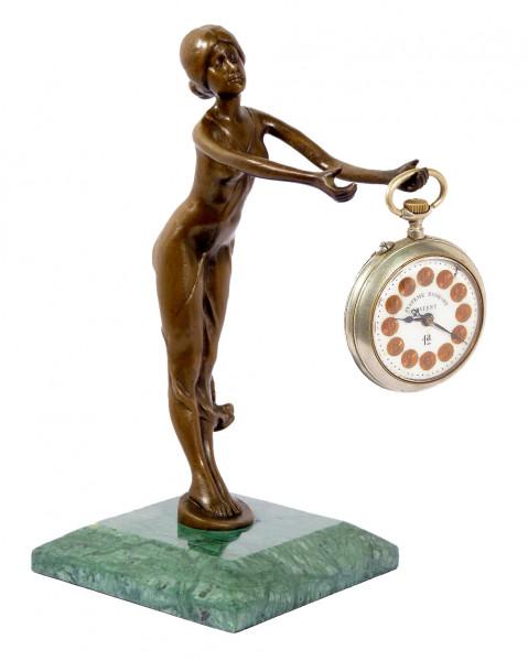 Praktischer Jugendstil Bronze Uhrenständer signiert Bruno Zach