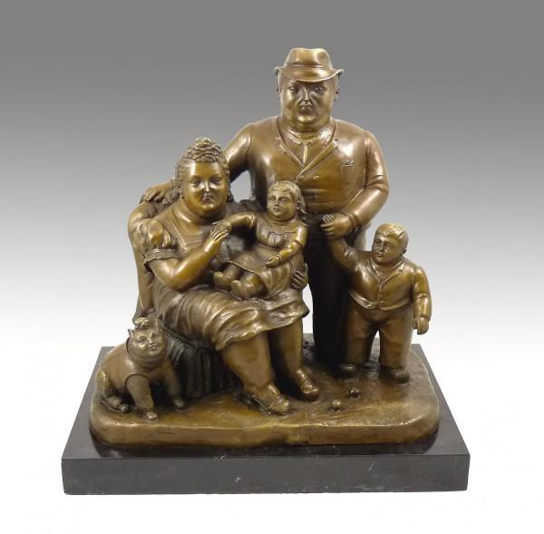 Moderne Bronzeskulptur - Family - signiert Botero