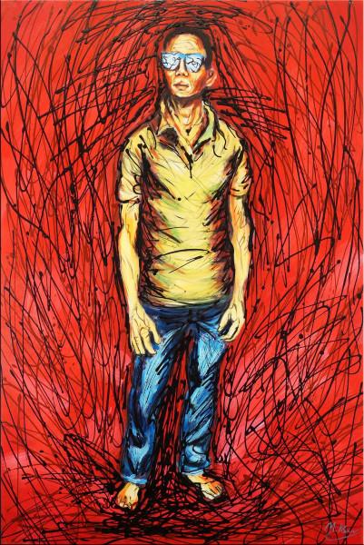 Red Hell - Abstraktes Acrylgemälde - Martin Klein