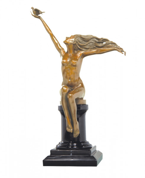 Art Deco Bronze Akt (The Carrier Pigeon) signiert A. Gennarelli