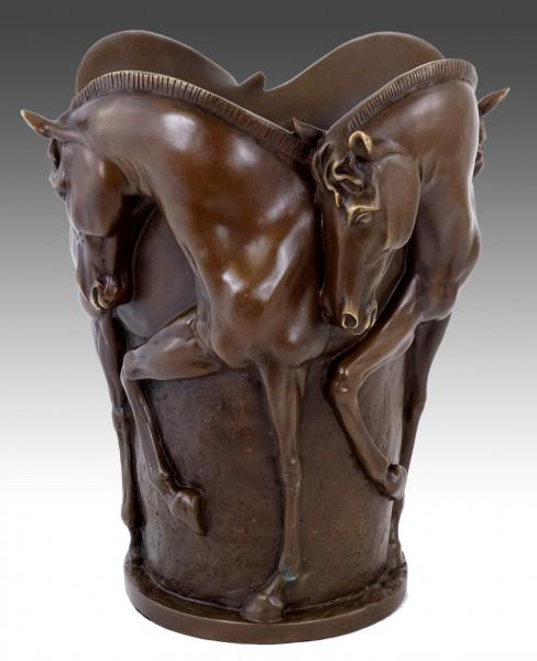 Pferdebronze - Pferde Bronzevase - signiert Milo