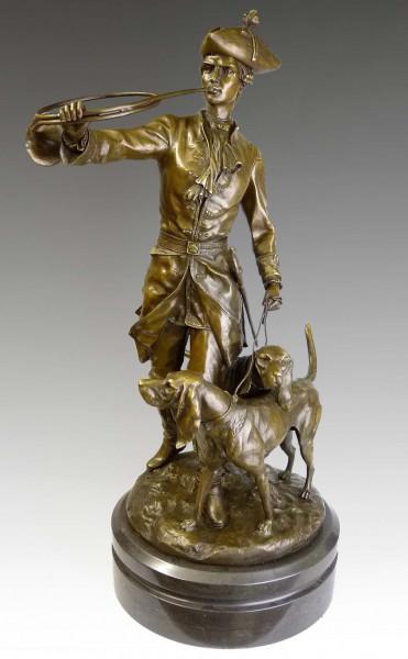 Jugendstil Bronze - Herrschaftliche Jagdszenerie - nach Moreau
