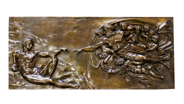 Mythologie Relief - Die Erschaffung Adams - signiert Michelangel