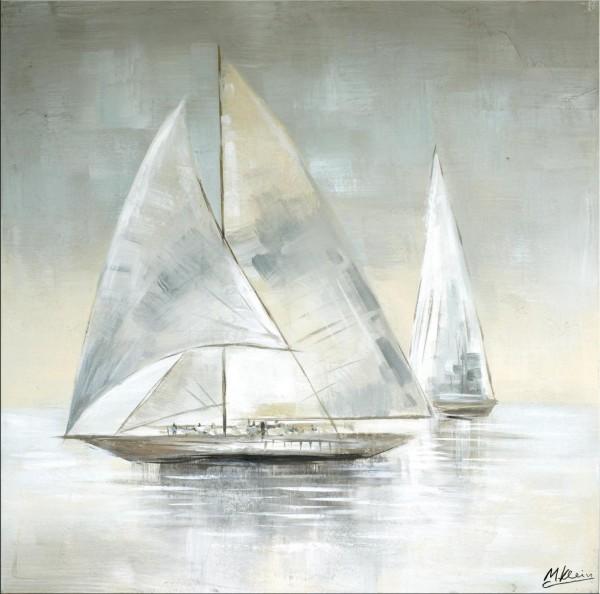 Sailing Regatta IV - Modernes Ölgemälde - Martin Klein - Segelboot