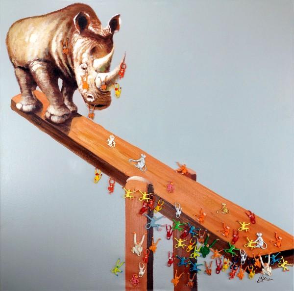 Nashorn Wippe – Tiergemälde – Martin Klein – Modern Art