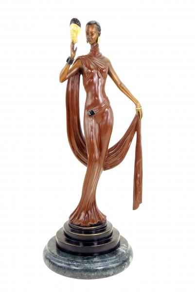 Art Deco Bronze Skulptur - Tänzerin mit Maske - signiert F. Preiss